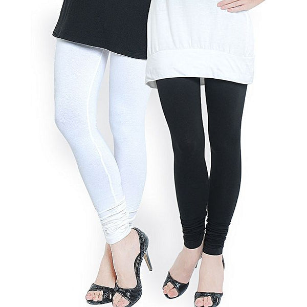 Black and White Cotton Plain Tights For Women