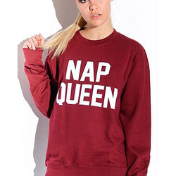 Maroon Cotton Nap Queen Printed Full Sleeves Sweatshirt For Women