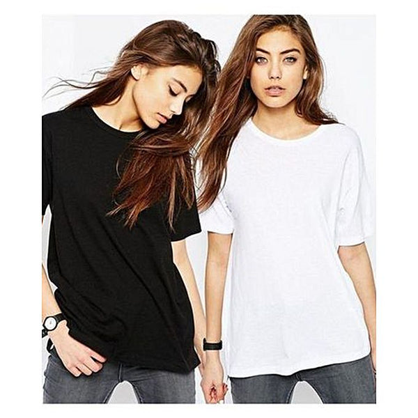 Pack of 2 - Black & White Fleece T-shirt For Women