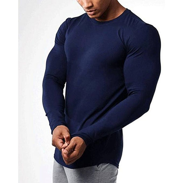 Navy Blue Cotton Round Neck Full Sleeves T-Shirt For Men