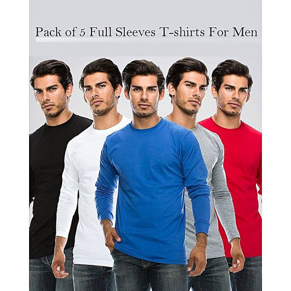 Pack Of 5 - Cotton Full Sleeves Round Neck Tshirt For Men