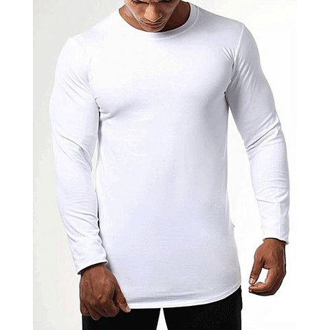 White Cotton Round Neck Full Sleeves Plain T shirt For Men