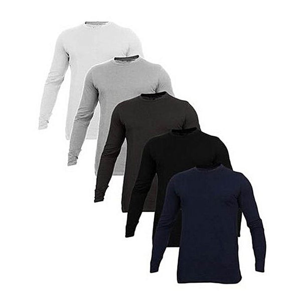 Pack Of 5 - Multicolor Plain Full Sleeve T-Shirt For Men