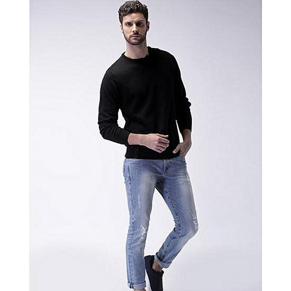 Black Plain Full Sleeves Round Neck Cotton T-Shirt For Men