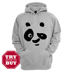 Hazel Grey Fleece Panda Printed Hoodies For Women