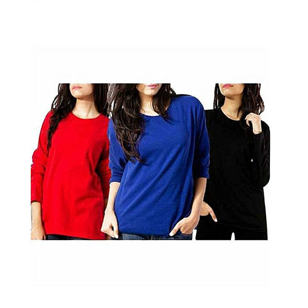 Pack of 3 - Red, Blue and Black Cotton Full Sleeves T-Shirts For Women