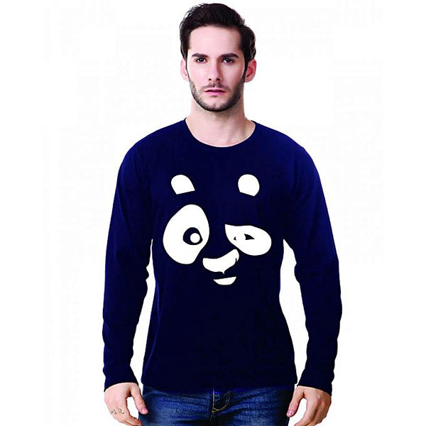 Navy Blue Panda Printed Full Sleeve T-Shirt For Men