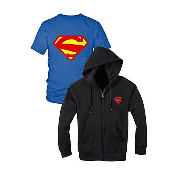 Pack of 2 : Black and Blue Superman Printed T-shirt and Zipper Hoodies For Women