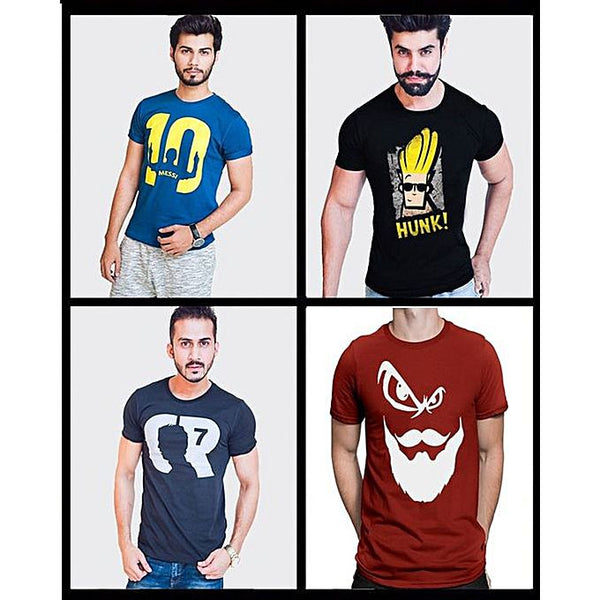 Pack Of 4: Multicolor Printed T-Shirt For Men