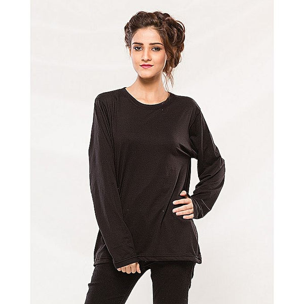 Black Cotton Full Sleeves Tshirt For Women