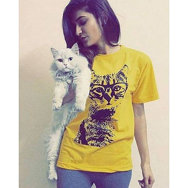 Yellow Cotton Printed Half Sleeves T-shirt For Women