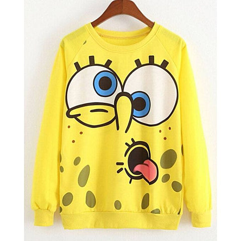 Yellow Fleece Spongebob Printed Sweat Shirt For Women