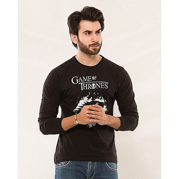 Black Game Of Thrones Printed Full Sleeves T-Shirt For Men