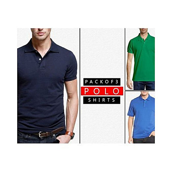 Pack Of 3: Multicolor Plain Polo T-Shirts For Men