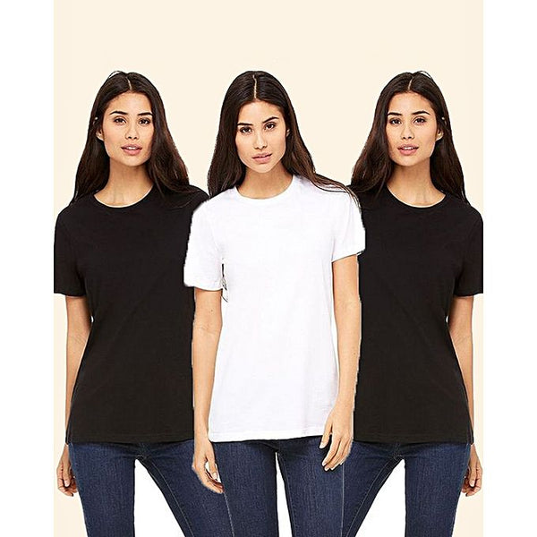 Pack Of 3 - Multi Color Plain Cotton T Shirts For Women