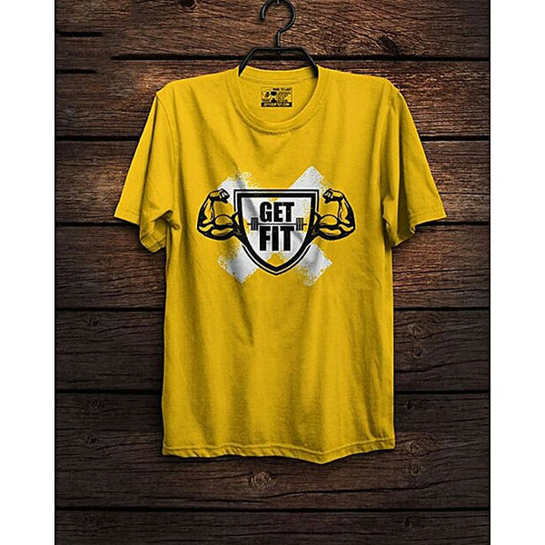 Yellow Get Fit Printed T-shirt For Men