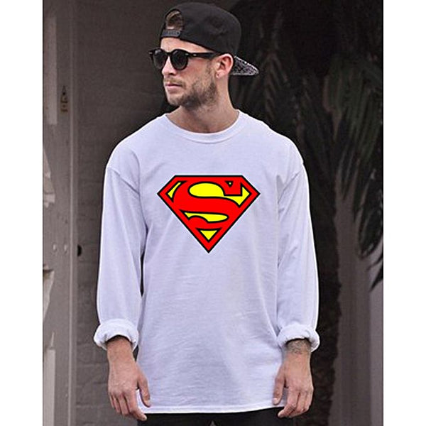 White Cotton Supermen Printed Full Sleeves T-Shirt For Men
