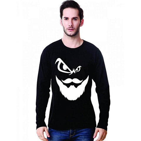 Black Angry Beard Printed Full Sleeve T-Shirt For Men