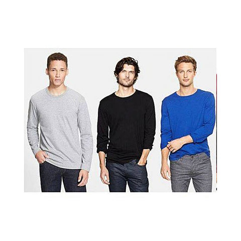Pack Of 3 Plain Long Sleeves Round Neck Cotton T-Shirts For Men