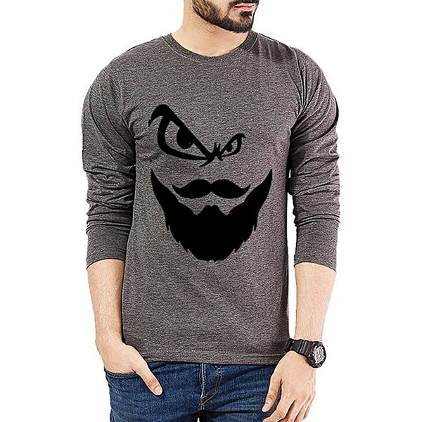 Charcoal Angry Beard Printed Full Sleeve T-Shirt For Men