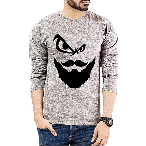 Hazel Grey Angry Beard Printed Full Sleeve T-Shirt For Men
