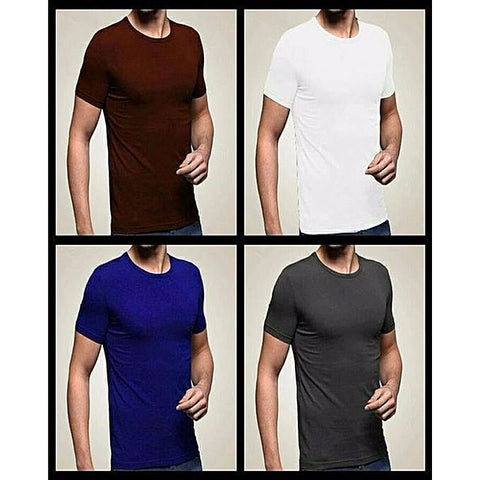 Pack Of 4: Multicolor Plain T-Shirt For Men