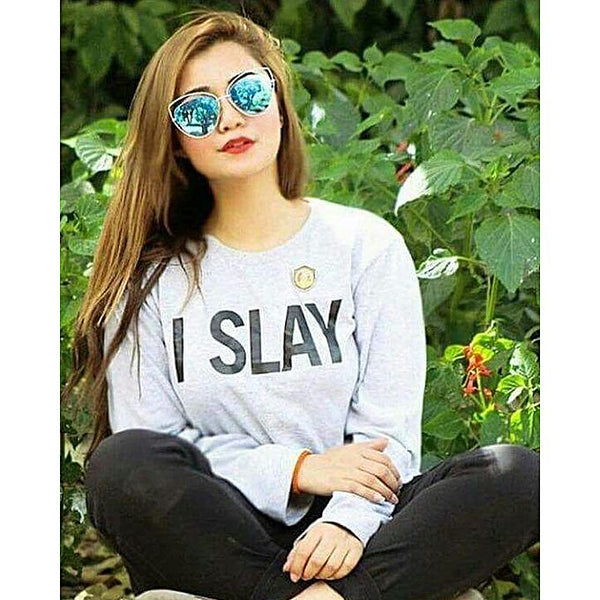 Grey I Slay Printed Full Sleeves Cotton Round Neck Tshirt For Women