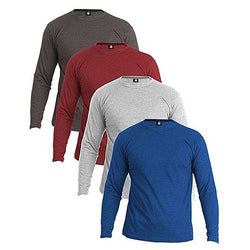 Pack Of 4 - Multicolor Plain Full Sleeve T-Shirt For Men