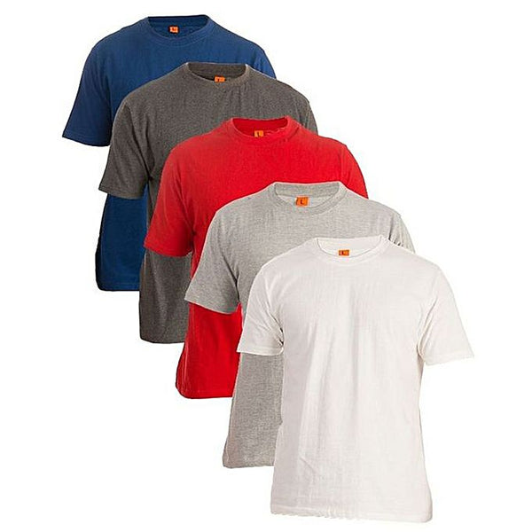 Pack Of 5 Plain Half Sleeves Round Neck Cotton T-Shirts For Men