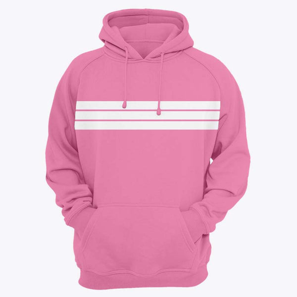 White Striped Pink Hoodies Kangaroo