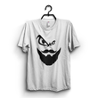 White Cotton Beard Men Printed Half Sleeves Round Neck Tshirt For Men