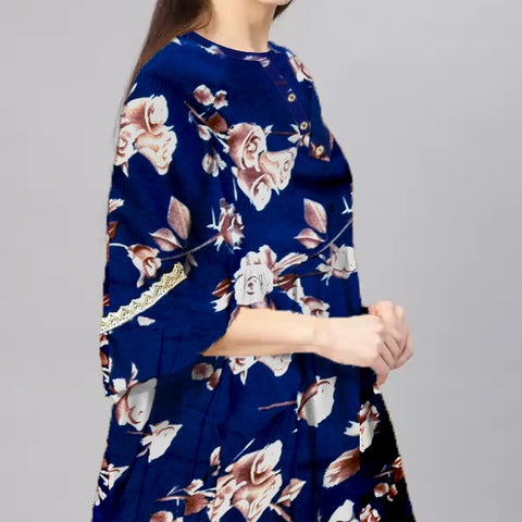 Royal Blue Boski linen flower printed Frock style tunic.