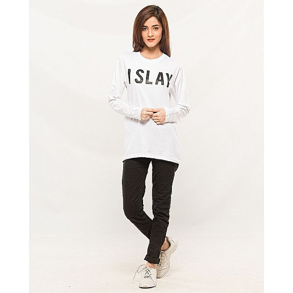 White I Slay Printed Full Sleeves Round Neck Cotton T-shirt For Women