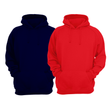 Bundle Of 2 : Red & Navy Blue Plain Kangroo Hoodie