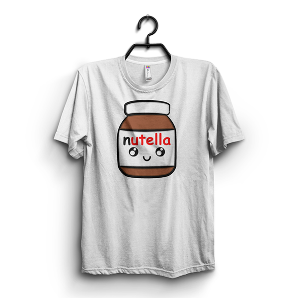 White - Nutella Printed Half Sleeves Round Neck T Shirt For Women
