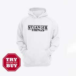 White Strange Things Printed Kagroo Hoodie