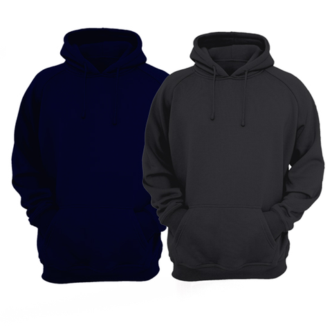 Bundle Of 2 : Black & Navy Blue Plain Kangroo Hoodie