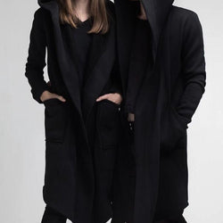 Black Long Fleece Coat for Men