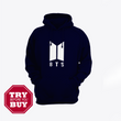 Navy Blue BTS Printed Kagroo Hoodie for men available now