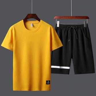Yellow and Black Summer Yellow T-Shirt and Short Set