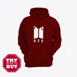 Maroon BTS Printed Kagroo Hoodie for men