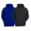 Bundle Of 2 : Black & Royal Blue Blue Plain Kangroo Hoodie