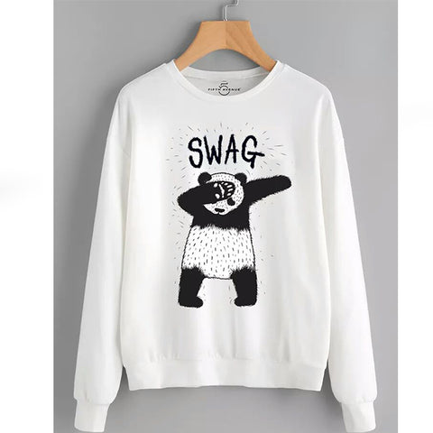 White Swag Printed Sweatshirt