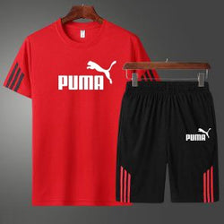 PUMA Red and Black Summer Red T-Shirt and Short Set