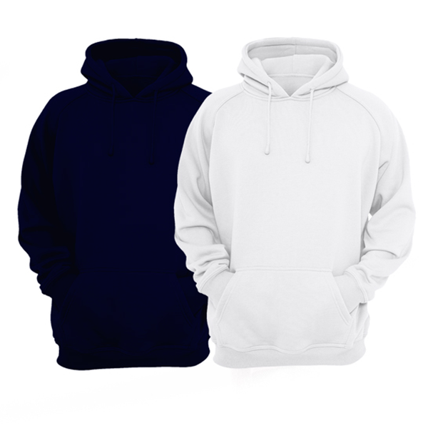 Bundle Of 2 : White & Navy Blue Plain Kangroo Hoodie