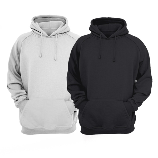 Bundle Of 2 : Hazel Grey & Black Plain Kangroo Hoodie