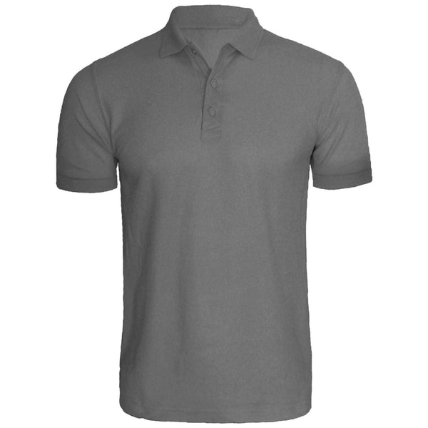 Steel Grey Cotton Polo Half Sleeves T-Shirt For Men