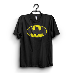 Black Cotton Batman Front Logo Printed Half Sleeves T-shirt