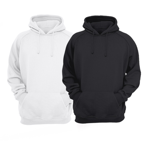 Bundle Of 2 : White & Black Plain Kangroo Hoodie