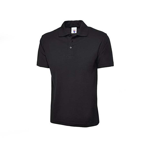 Black Cotton Polo Half Sleeves T-Shirt For Men